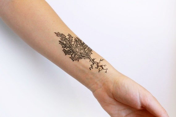 Thorny Leaf & Roots Temporary Tattoo, Black Ink Tattoo Design, Botanical Drawing, Dandelion Leaves,  Nature Tattoo