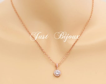 Wedding Rose gold plated Cubic Zirconia Necklace Wedding Jewelry Bridesmaid gifts Bridesmaid Jewelry Bridal Necklace Wedding Jewelry