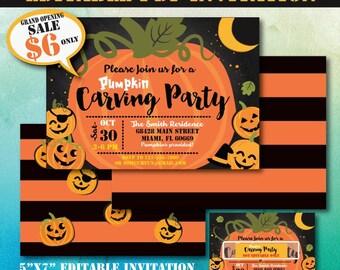 Pumpkin Carving Party Invitation-Editable PDF File-Printable Pumpkin Party Invite-Eitable Fall Party Invitation-Halloween Party Invitation