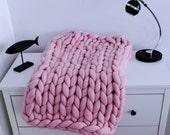 Chunky knit Blanket. Knitted blanket. Merino Wool Blanket. Bulky Blanket. Extreme Knitting.Super chunky blanket