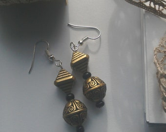 Aztec style fishhook earrings