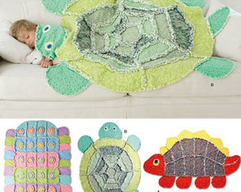 Sewing Pattern for Child's Rag Quilted  Quilts , Simplicity 2493, Cotton Flannel, Three  Rag Quilts, Turtle, Dinosaur, Caterpillar