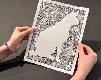 CAT Coloring Page Book Pages Printable Adult Hand Drawn Doodle