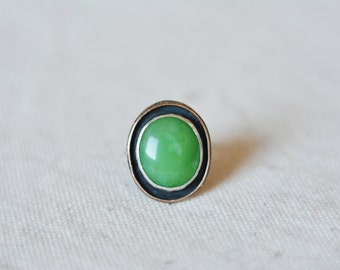 SALE! Absinthe dream, 9-10k solid yellow gold, sterling silver and chrysoprase ring with unique ring band