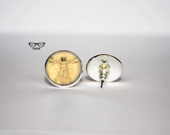 Leonardo Da Vinci earrings, Vitruvian man stud earrings, L'Uomo Vitruviano earrings, Art Gifts, fan gift