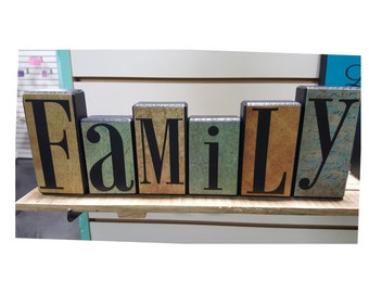 Family Wood Block Set with Blue/Antique Paper Background