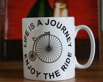 10 oz Ceramic Mug with Penny Farthing Bike print