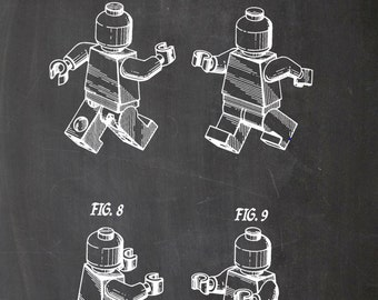 LEGO patent, vintage, drawing, printing, print, A4, chalkboard, black, white, drawing, figure, posters, wall art, wall art, blueprint