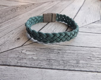teal braided bracelet ~ minimal bracelet ~ suede bracelet ~ everyday bracelet ~ sustainable jewelry ~ fashion bracelet ~ gifts under 20