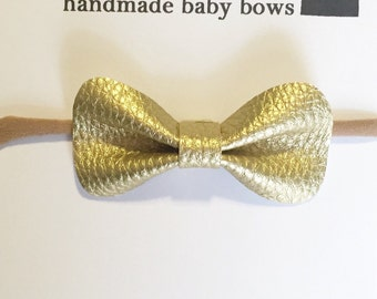 Faux Leather Baby Bow