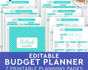 Finance planner home budget planner financial household, monthly budget, bills tracker, debt payoff, expense tracker, PRINTABLE letter A4 A5