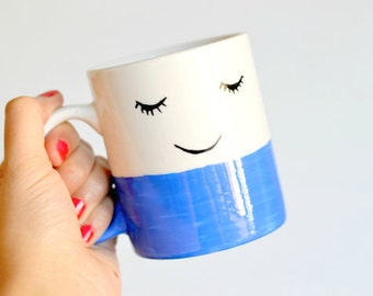 Happy Face Mug - Unique Coffee Mug - Happy Tea Cup - Face Illustration - Hipster Gift - Housewarming - Good Morning - Feelgood - Smile