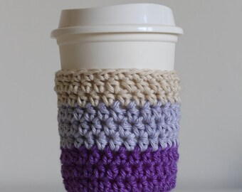Ombre purple coffee cozy, pastel purple coffee cozy, coffee cup sleeve, coffee cup cozy, vegan, cotton, soft gunge, lupus awareness