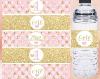 First Birthday Water bottle lables, pink and gold water bottle labels, gold polka dot water labels, printable labels Digital File
