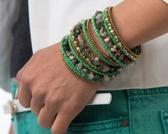 Mixed Color Stones and Green Seed Beads Memory Wire Bracelet