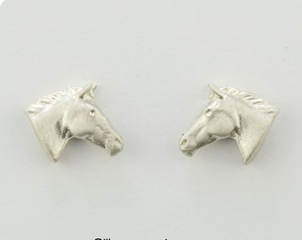 Horse head studs • S • solid & 3D • silver