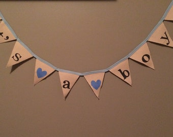 It's a Boy Banner, READY TO SHIP  bunting, Baby Shower decor