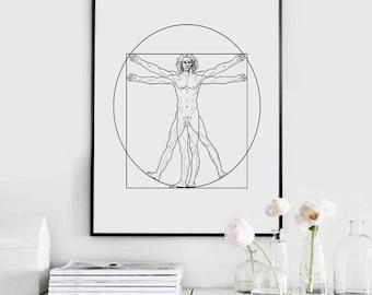 Vitruvian Man, Leonardo da Vinci, Printable Wall Art, Wall Art Print, Modern Minimalist, Instant Download, vitruvian Poster
