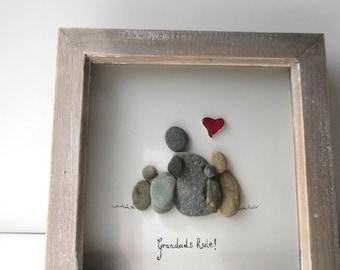 Grandads rule! pebble art, grandchildren gift, pebble picture, red heart, family picture, family, loved ones, gramps, pops,