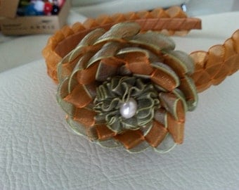 Headband in organza Ribbon color Earth