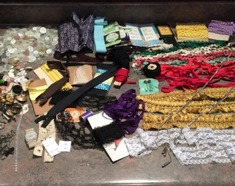 Vintage sewing accessories, Bulk Lot Sewing, Buttons, Ribbons, Lace, Chalk, Hooks, Snaps, Thread, As Is