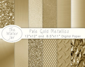 Pale Gold Metallic Glitter and Gold Foil Textured digital papers Commercial Use, Brushed metal, gold foil, gold textures.