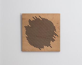 Laser Engraved Minimalist Geometric Circle Wood Wall Art