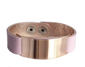 Pink Leather wrap cuff bangle bracelet