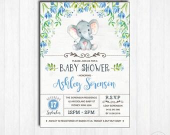 ELEPHANT Baby Shower Invitation. Printable. Baby Boy. Woodland Baby Shower Invite. Little Peanut. Blue Flowers. Jungle. Floral Shower EL-B2