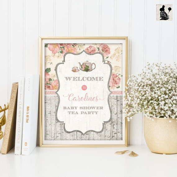 baby shower tea party welcome sign. printable. floral high tea, Baby shower invitation