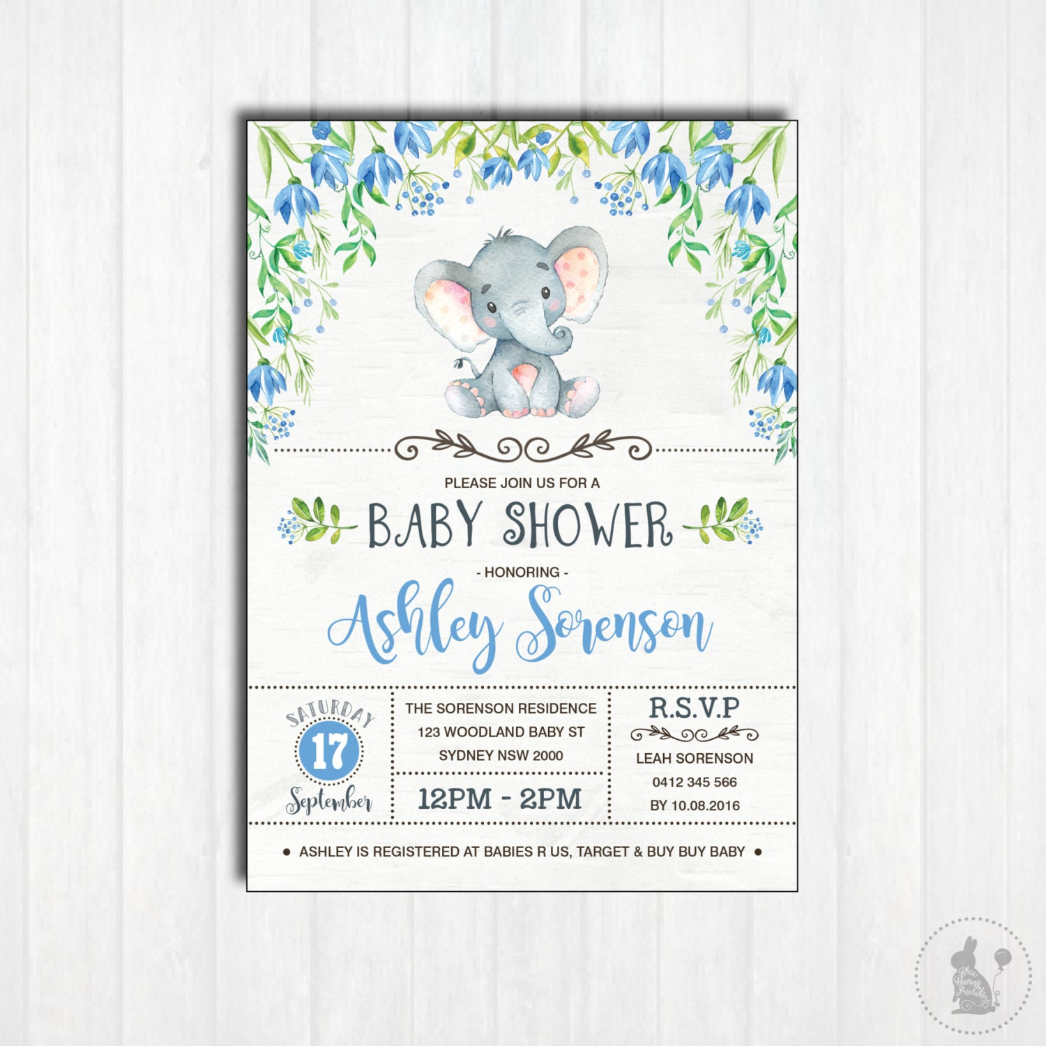 Influential image within printable elephant baby shower invitations