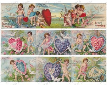 Valentine ATC Cards - Artist Trading Cards, ACEO, Valentines Day, Digital Collage Sheet - Commercial Use