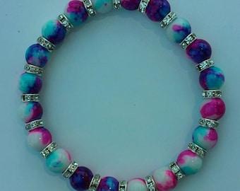 TYE DYE STRETCH Bracelet, Blue Purple Pink and White Glass Beads, Glass Stretch Bracelet, Ladies Bracelet Multicolored Beads, Rhinestones