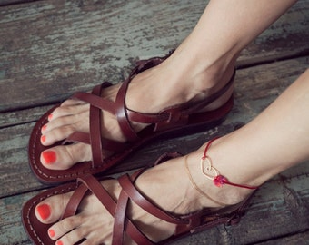 leather sandals women, greek sandals, strappy sandals, women sandals brown leather sandals, Jerusalem sandals, flat sandals, wedding sandals