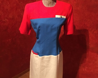 1980s Dress-How Hip and Unique!!/Size-8