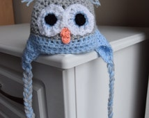 Baby Crochet Hat - Blue and grey Owl hat - Newborn Size, baby crochet owl hat, infant crochet hat