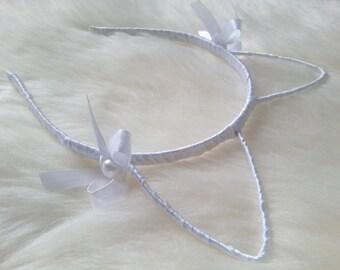 Cat ears on headband cat ear white ribbon kitty