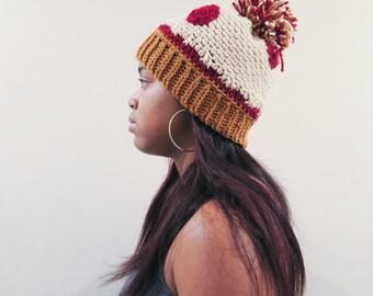 Pepperoni Pizza Hat (Teen/Adult Unisex Crochet Beanie)