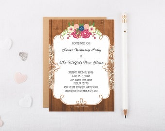 House Warming Party invitation (5x7 digital file for unlimited printing) - wood with lace and flowers