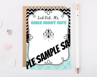 Girls Night Out - 5x7 digital invitation for self printing