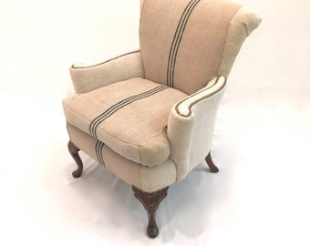 Antique Petite Queen Anne Tailored Grain Sack & Linen Wing Chair w Reversible Cushion