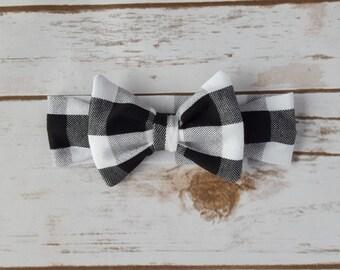 Black and White Buffalo Plaid Knit Bow Headband