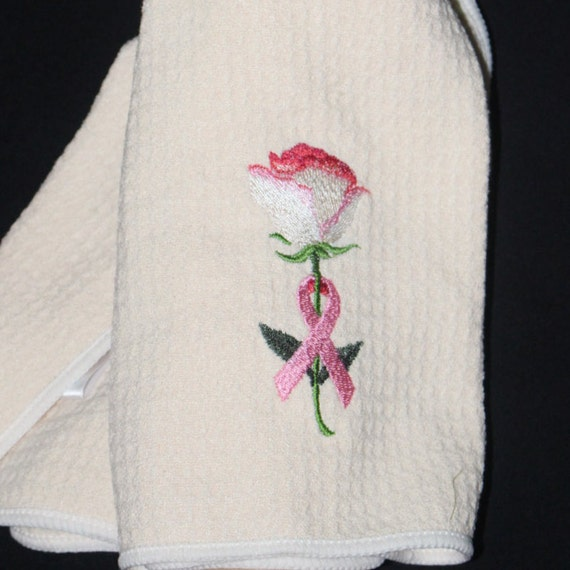 Rose Embroidered Towels: Cancer Awareness Rose Embroidered Towel Cancer Awareness