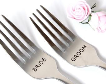 Wedding Forks, Bride Groom Personalized Forks