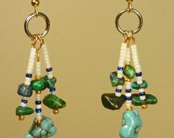 Beaded Dangle Turquoise Earrings