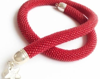 Tubular Ruby red beads necklace-Ruby red beaded necklace-bead crochet Necklace-Bead crochet necklace