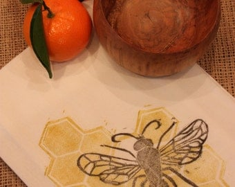 Block Print Honeybee Flour Sack Towel, 100% Cotton--Great Kitchen Towel, Tea Towel, or Cloth Napkin
