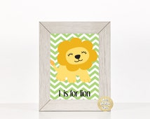 L is for Lion nursery print, safari nursery, jungle nursery, baby shower gift, baby boy nursery