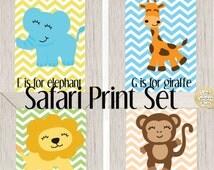 Safari jungle nursery 4 print set, safari nursery, jungle nursery, baby shower gift, baby boy nursery, lion nursery, elephant nurser