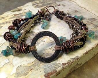 Tiny Blue Goldstone, Flourite, Hemp, Steel, Brass, Leather, wood, Copper Textured Anulus Bracelet